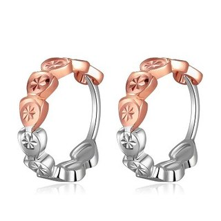 Hong Kong Design 14K / 585 Red White Gold net gold small hoop earrings