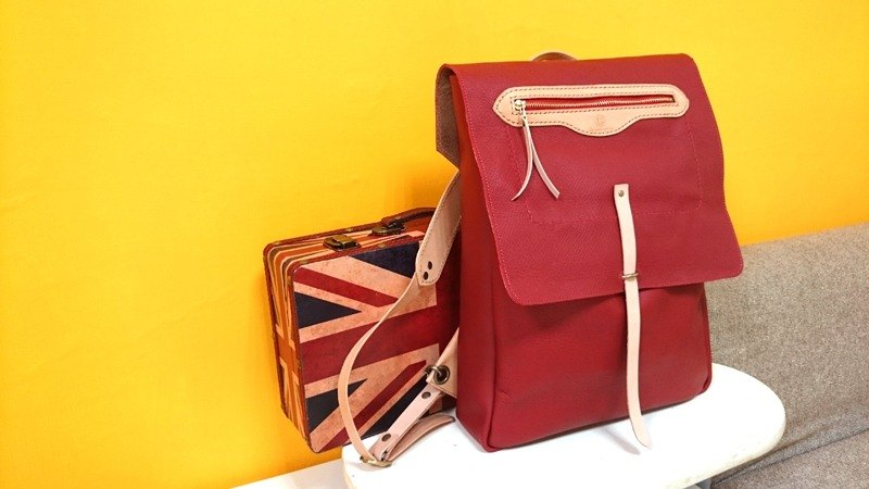 After the two-tone backpack York - London Red + primaries vegetable tanned leather (custom models)