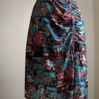 American pattern low-waist skirt (blue)