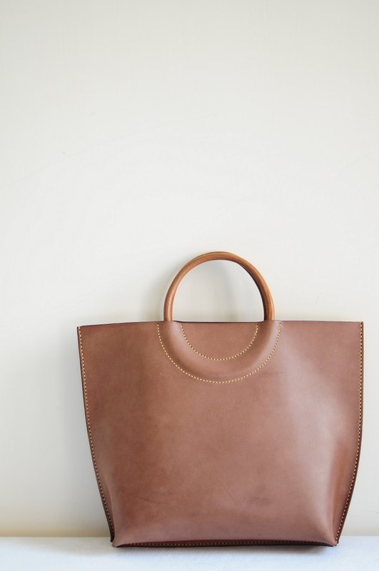 Hand Stitched Dark Brown Leather Tote Bag