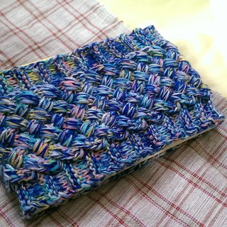 Lan hand-made knit headband (flower yarn colorful sea blue)