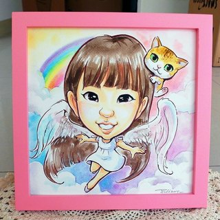 Like Yan painted _ watercolor hand-painted cartoon portrait _ single body shape (with photo frame)