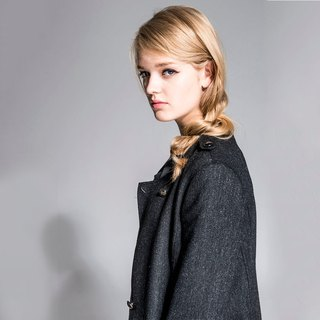 Lapel Long woolen jacket - black NOVI
