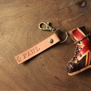 Vintage British style boots - three-dimensional pure leather key paragraph - Customizable name