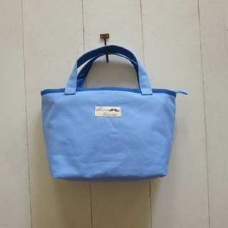 Trapezoid Collection: Canvas Tote - Small size (Zippered Closure) Light Blue + Royal Blue