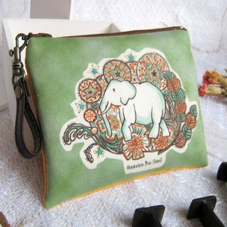 <Animals in the secret land> Elephant graffiti  coin purse (big size)