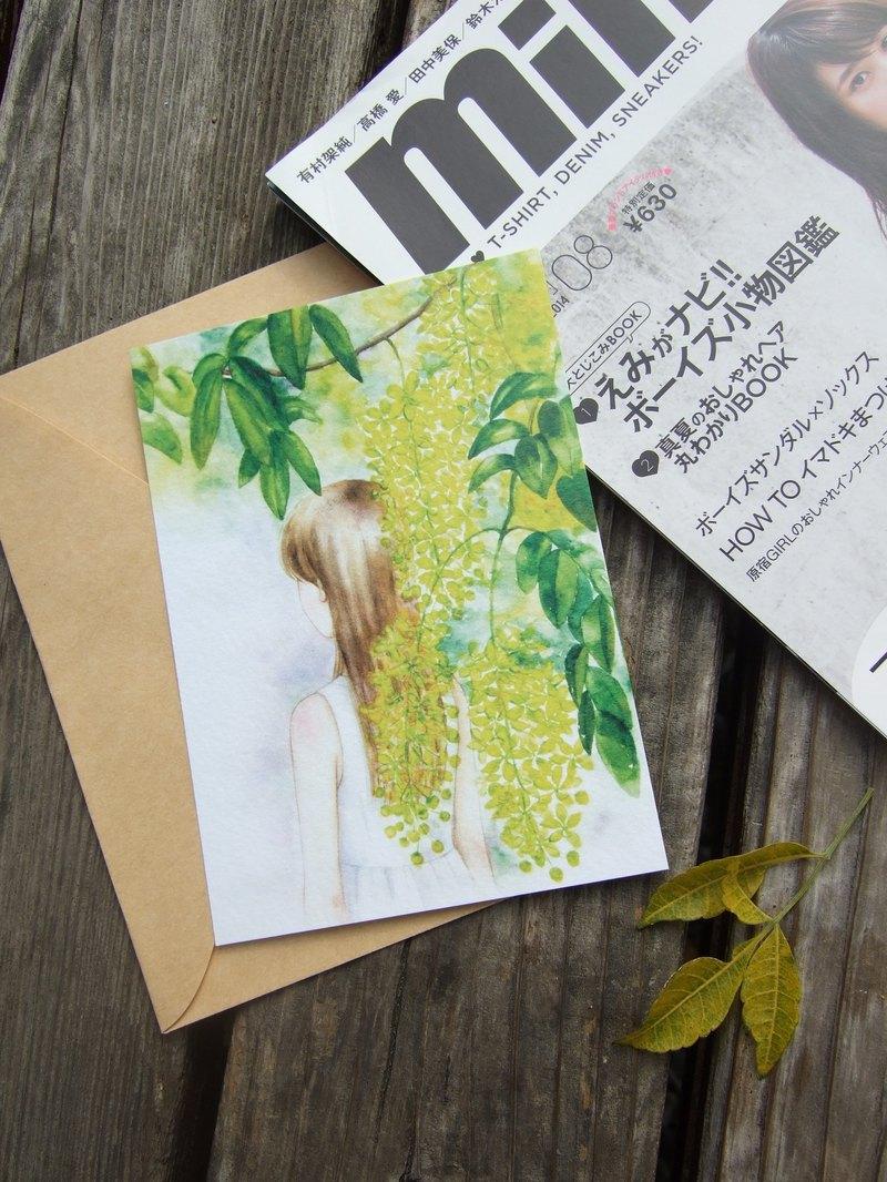 在花季結束前 黃金雨樹下女孩 阿勃勒黃色花海 手繪插畫明信片