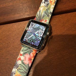 Apple Watch  Series 1, Series 2 and Series 3 - Colorful Floral Pattern Printed on Genuine Leather for Apple Watch Strap Band 38 / 42 mm - 40