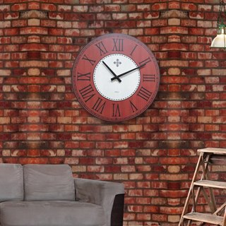 Solid wood vintage wall clock - brown orange gray - Roman numerals - round - 38cmX38cm - mute