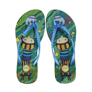 QWQ Creative Design Flip-Flops (No Drills) - Aquarium in Water - Blue [IMN0241504]