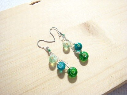 Grapefruit Forest Handmade Glass - Design Style - Green Bead Teardrop Towel (can be changed without clips)