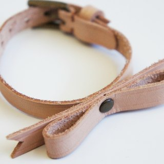Pink color soft leather bow bronze buckle bracelet hand-made leather PdB New York