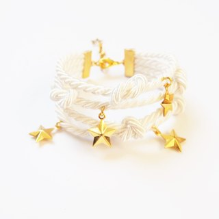 White multi stand rope bracelet with gold star