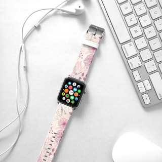 Apple Watch Series 1 , Series 2, Series 3 - Soft Pink Floral pattern Watch Strap Band for Apple Watch / Apple Watch Sport - 38 mm / 42 mm avilable