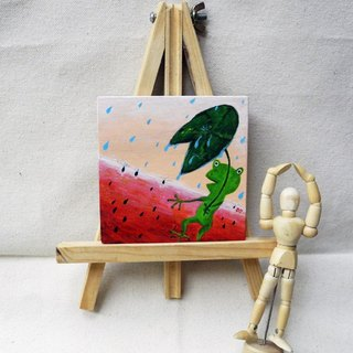 PuChi / hand-painted / wood decorations / watermelon summer afternoon rain