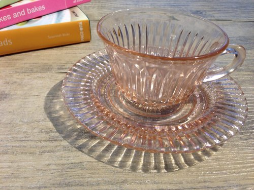 QUEEN MARY PINK DEPRESSION Mary Queen series antique coffee cup set / Anchor Hocking (Fire King Company)