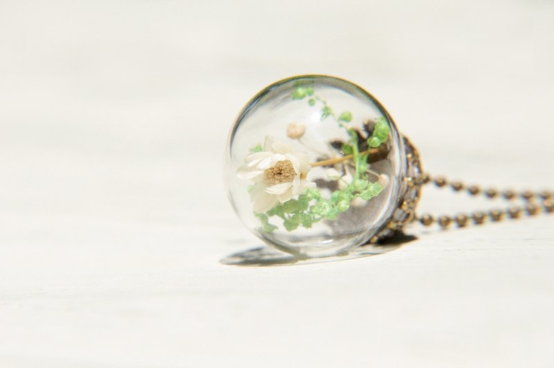 Valentine's Day gift / Forest Department / French bronze glass dried flower necklace - fresh flowers