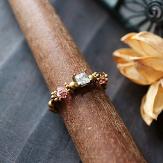 EF golden years NO.188 zircon crystal elegant red roses brass ring tail ring foot ring