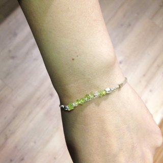 Natural stone series _ grape green line olivine mixed silver beaded bracelets silver thread