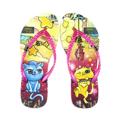 QWQ Creative Design Flip-flops - Stealing Fish - Powder [ST0451502]