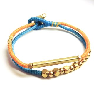 Great equation. Double series ◆ Sugar Nok ◆ hand-knitted wax cord bracelet brass