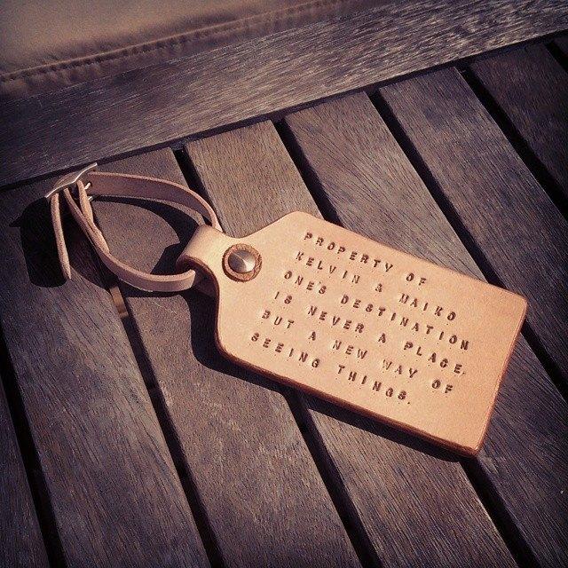 966853304184 Kel Personalise Leather Luggage Tag, Hard and Sturdy, Minimalist, Event Gift