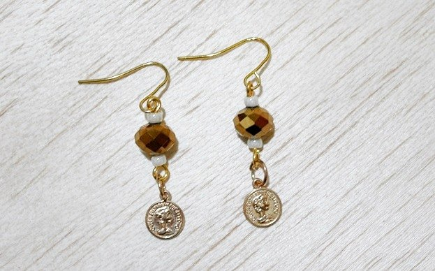 * _ * Small coin alloy hook earrings