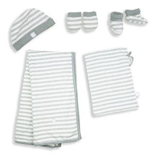 Martin House Take Me Home! Newborn Set Cream White & Grey Strip
