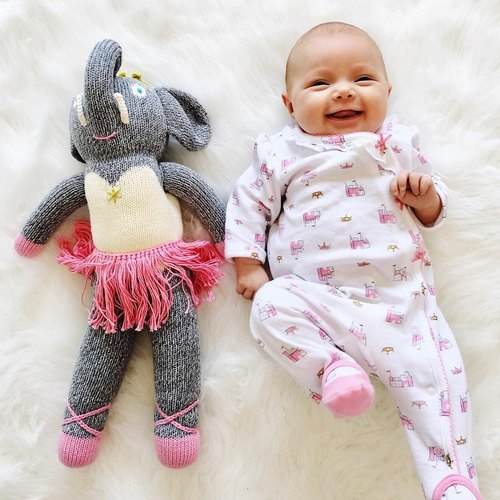 American Blabla Kids | Pure Cotton Knit Doll (Big Only) - Pink Ballet Grey Elephant B21052340