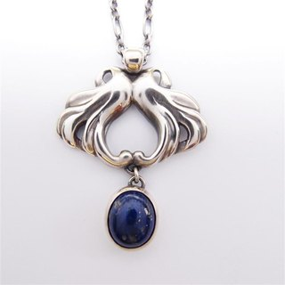 Classical series 4 --- lapis lazuli 925 silver necklace
