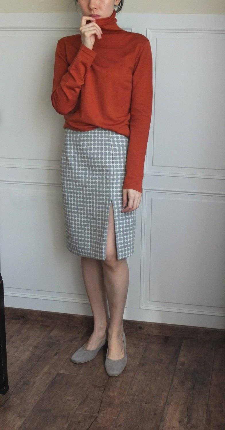 Wool Boca Dot Broken pencil skirt