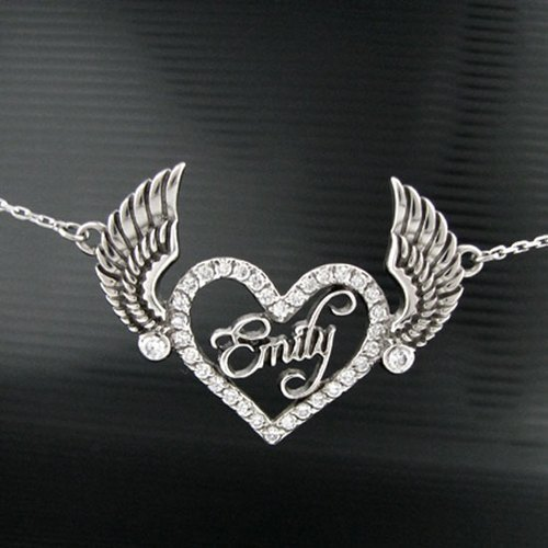 Customized heart .925 sterling silver jewelry AH00001- Angel Necklace