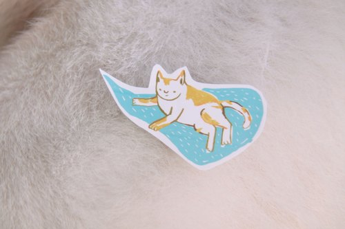Water repellent small stickers :: love cats (three in)