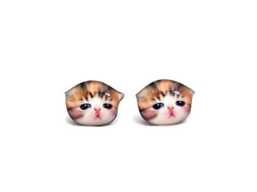 Blush red calico cat earrings B A025ER-C42