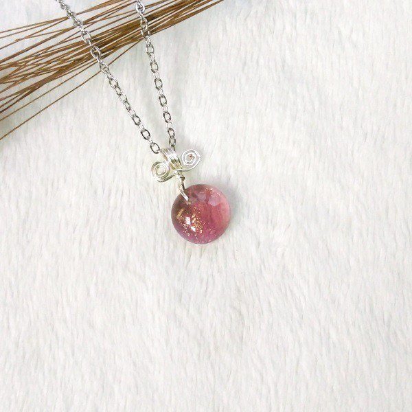 Sweetheart Candy Glass Necklace - Purple Plum