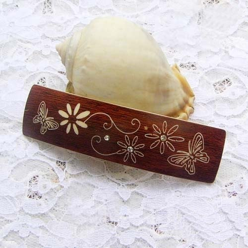 Wooden single butterfly, imitation wood clip, flat clip, hair clip