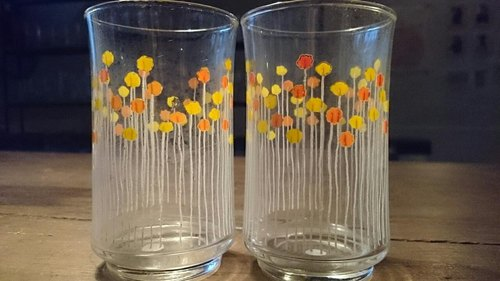 2 Vintage 10 cm Vintage Glasses with  yellow Floral Pattern 早期北歐風花朵圖案玻璃杯