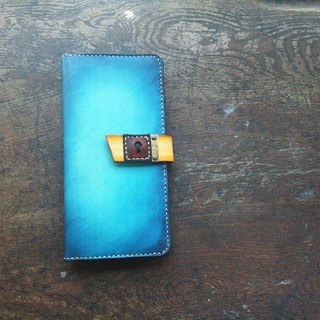 Atwill. In my heart, there is a door handmade original brush color lettering cowhide multi-function wallet / bright treasure blue yellow