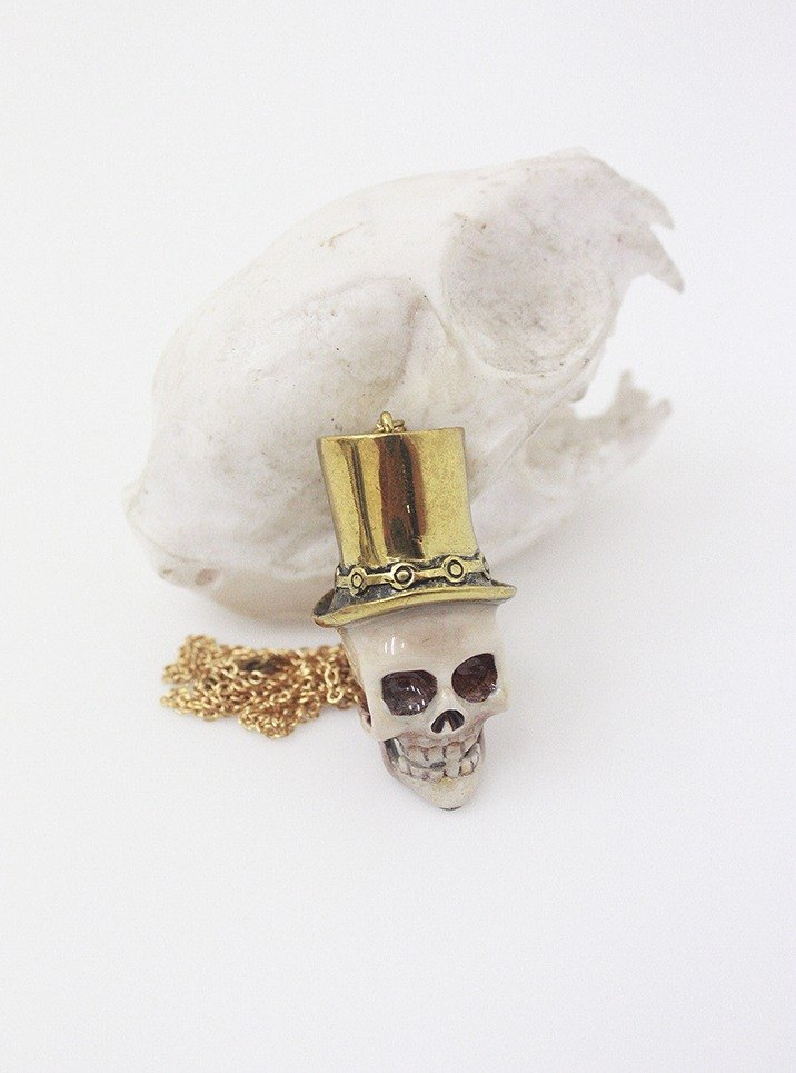Skull with Vintage Long Hat - Hand Painted Version - Pendant / Necklace