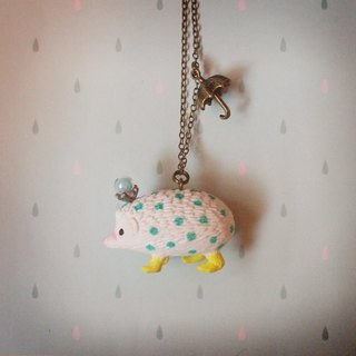 Fabulous Adventure - blue-green little rain hedgehog necklace (white hedgehog)