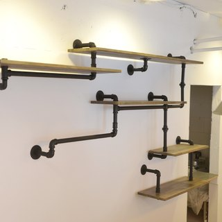 Industrial metal pipe wall shelf / CD Shelf Bookshelf / Distressed retro