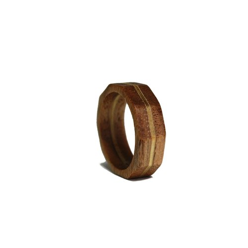 Wood Ring-Crystal Octagon|Free Engraving
