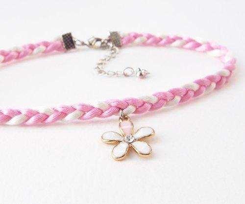 Light pink / white soft satin rope with flower charm