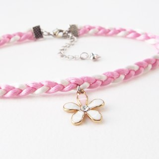 Light pink / white soft satin rope with flower charm.