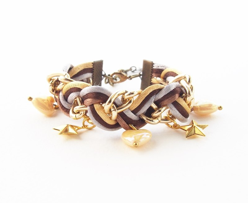 ♥ ELBRAZA ♥ Brown braided bracelet with gold chain.