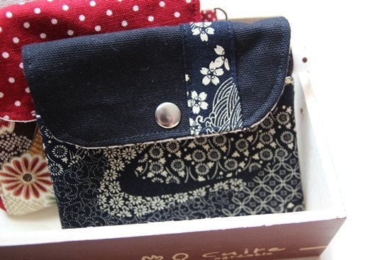 Cotton Fabric: Canvas Coin Purses, Black Canvas, Black Japanes Style