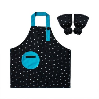 Waterproof kid apron sleeve set, Art Craft, Painting, Baking, Triangles, Blue