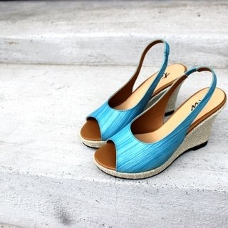 Blue │ fish mouth wedge sandals