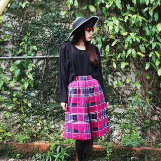 F706 (Vintage) Pink Plaid attached double pocket vintage skirts