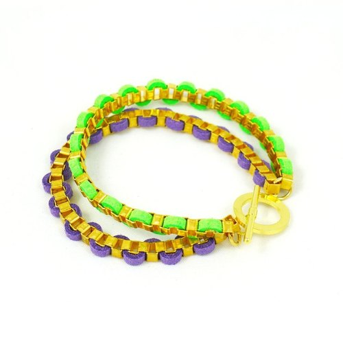 Leather cord bracelet candy colors (purple + fluorescent green)